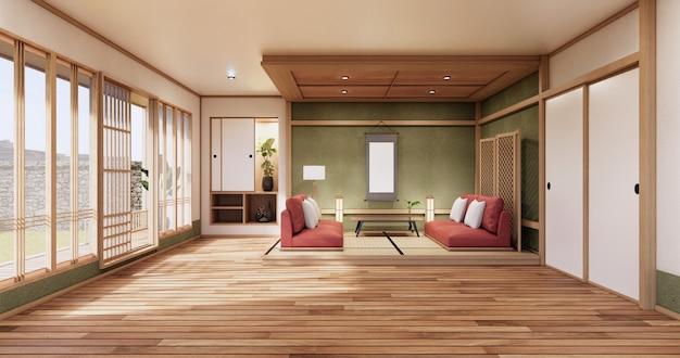 니혼 그린 룸 디자인 인테리어 - 일본식 룸. 3d 렌더링