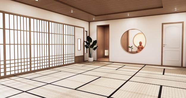日本の部屋のデザインのインテリアと畳の床の部屋の和風のキャビネットの棚の壁。 3dレンダリング