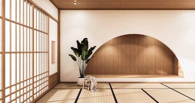 Nihon room design interior and cabinet shelf wall on tatami mat floor room japanese style. 3d rendering