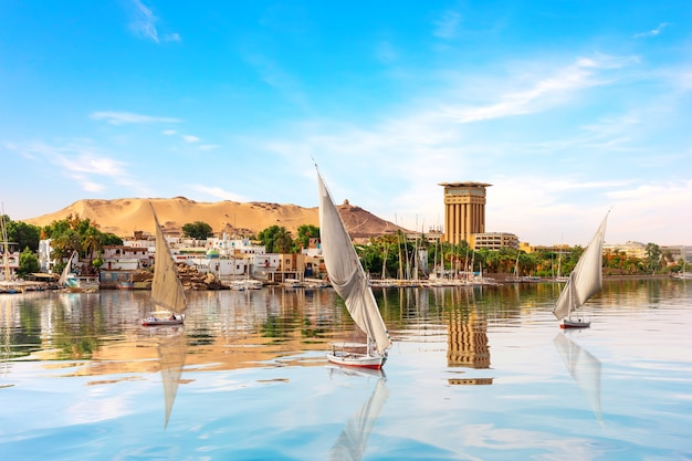 The nile and sailboats in aswan, egypt, summer scenery.