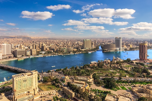 Nile view in cairo downtown, aerial panorama, egypt.