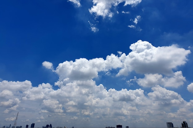 Nimbus clouds in the sky over city