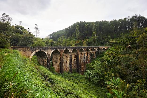 Девятиарочный мост, шри-ланка, старый мост в тропиках