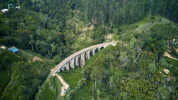Nine arches bridge with railroad in sri lanka