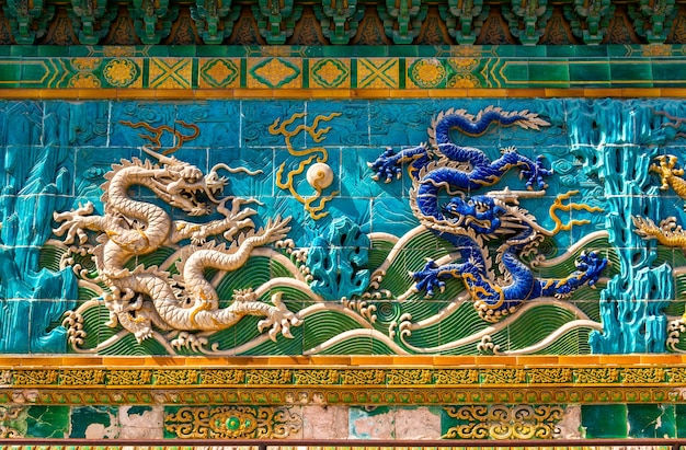 The nine-dragon wall at beihai park in beijing, china. the wall was built in 1402 ce