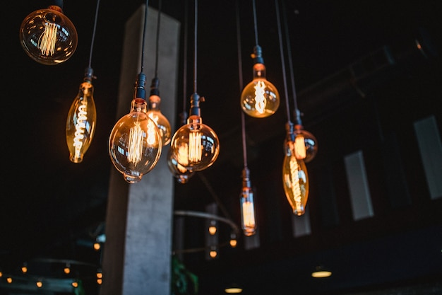 Nine pendant light bulbs