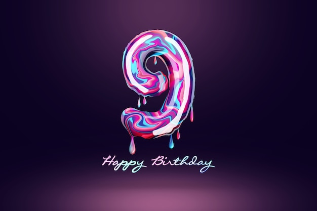 Nine year anniversary background, number from pink candy on dark background. concept for happy birthday background, brochure template, party, poster. 3d illustration, 3d rendering.
