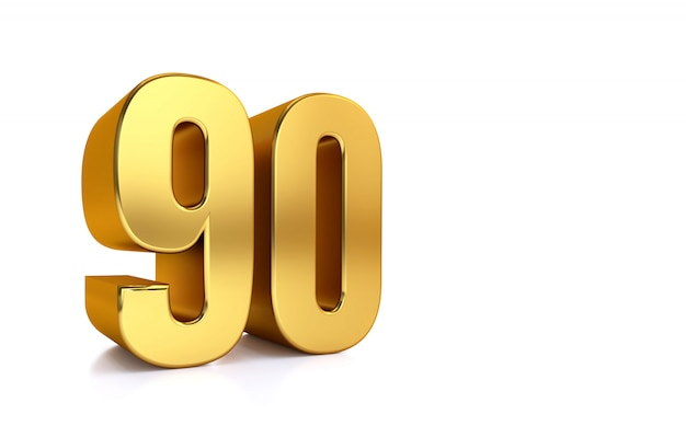 Ninety, 3d illustration golden number 90 on white and copy space on right hand side for text