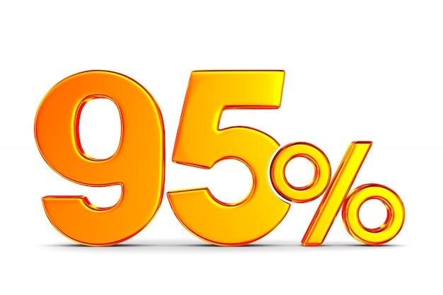 Девяносто пять процентов на белом пространстве. изолированные 3d иллюстрации