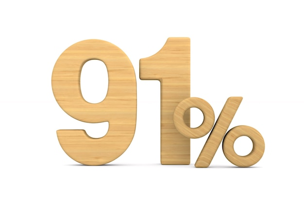 Ninety one percent on white background. isolated 3d illustration
