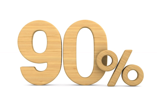 Ninety percent on white background. isolated 3d illustration