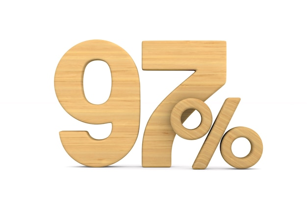 Ninety seven percent on white background. isolated 3d illustration
