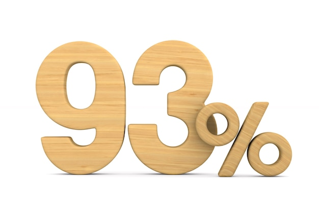 Ninety three percent on white background. isolated 3d illustration