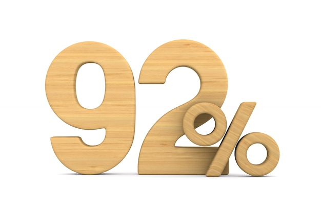 Ninety two percent on white background. isolated 3d illustration