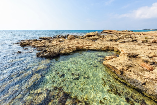 Nissi beach with rocks in cyprus