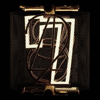 검은 배경 3d 렌더링에 닉시 튜브 표시기 근접 촬영 자리 7 7 복고 스타일 번호