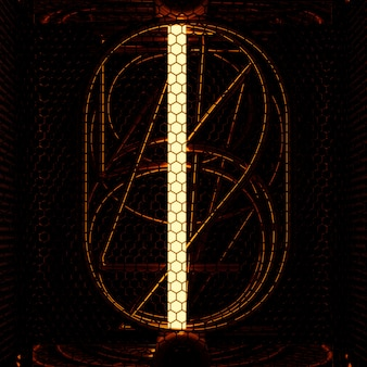 Nixie tube indicator closeup, number 1. retro style. 3d rendering.