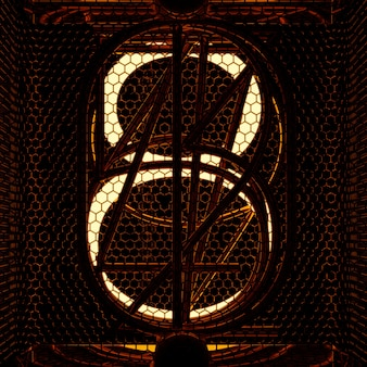 Nixie tube indicator closeup, number 8. retro style. 3d rendering.