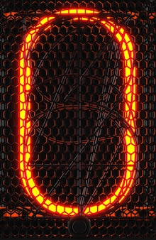 Nixie tube indicator, lamp gas-discharge indicator close-up. number zero of retro. 3d rendering.