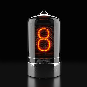 Nixie tube indicator, lamp gas-discharge indicator on dark surface. the number eight of retro. 3d rendering.