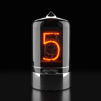 Nixie tube indicator, lamp gas-discharge indicator on dark surface. the number five of retro. 3d rendering.