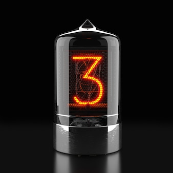 Nixie tube indicator, lamp gas-discharge indicator on dark surface. the number three of retro. 3d rendering.