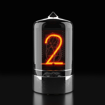 Nixie tube indicator, lamp gas-discharge indicator on dark surface. the number two of retro. 3d rendering.