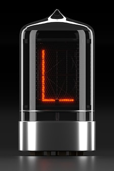 ニキシー管インジケーター、暗い表面のランプガス放電インジケーター。レトロの文字「l」。 3dレンダリング。