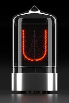 ニキシー管インジケーター、暗い表面のランプガス放電インジケーター。レトロの文字「u」。 3dレンダリング。