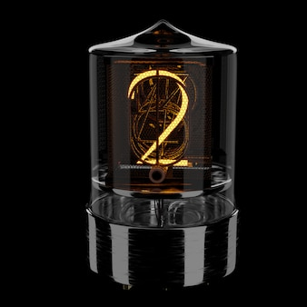 Nixie tube indicator, number 2. retro style. 3d rendered illustration.
