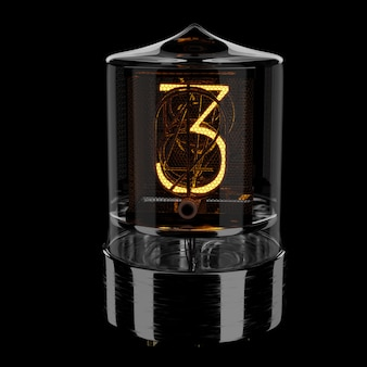 Nixie tube indicator, number 3. retro style. 3d rendered illustration.