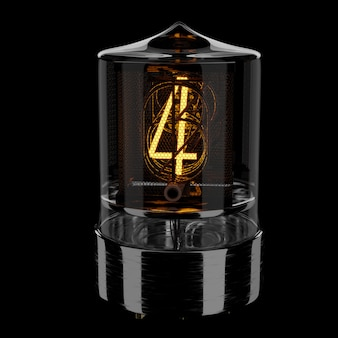 Nixie tube indicator, number 4. retro style. 3d rendered illustration.