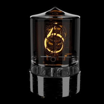 Nixie tube indicator, number 6. retro style. 3d rendered illustration.