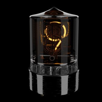 Nixie tube indicator, number 9. retro style. 3d rendered illustration.