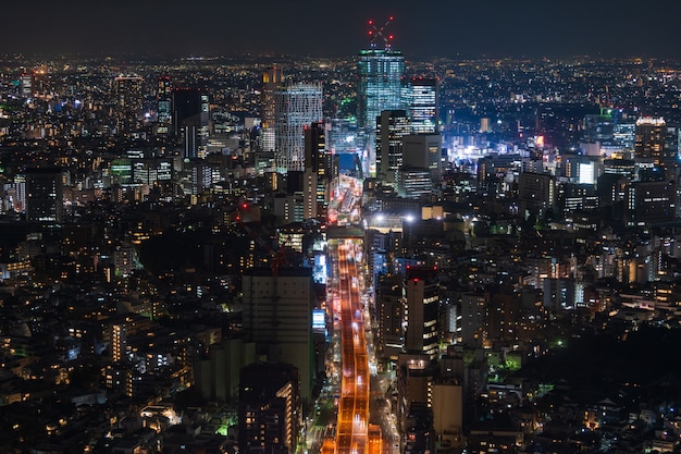 Вид на столичную скоростную автомагистраль № 3 линия сибуя и город, токио, япония
