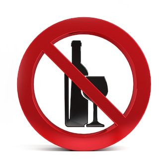 No alcohol drink sign isolated on white background 3d rendering.