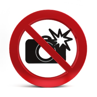 No camera flash sign isolated on white background 3d rendering.