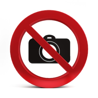 No camera sign isolated on white background 3d rendering.