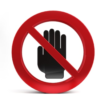 No entry hand sign isolated on white background 3d rendering.