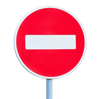 No entry road sign isolated on white background. the road is closed red round sign. white brick in red circle road sign.