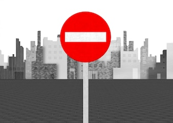 No entry sigh on background of city