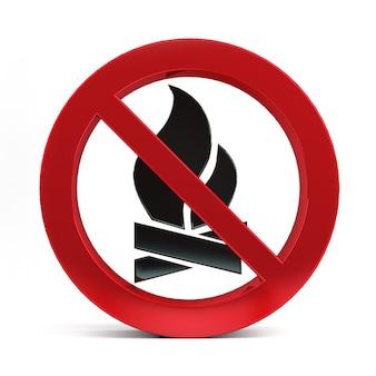 白い背景の3 dレンダリングに分離された火の兆候はありません。