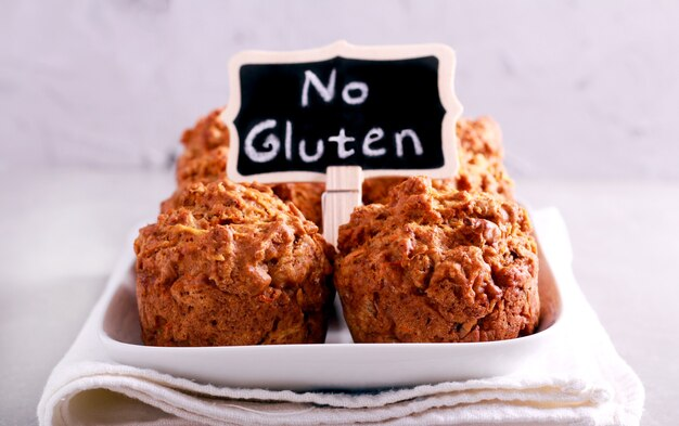 No gluten muffins on plate, selective focus
