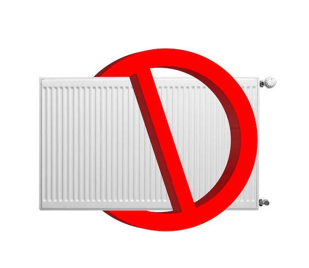 No heating sign isolated on white