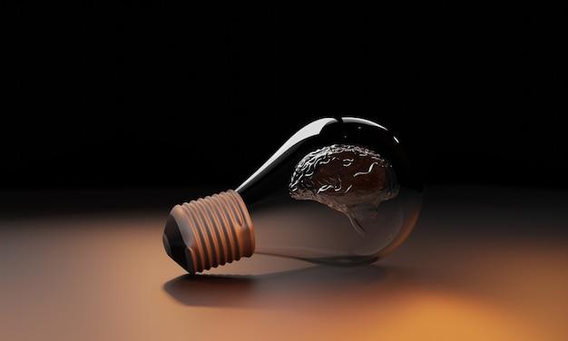 わからない、悪い考え、ブラックライト電球、3dレンダリング