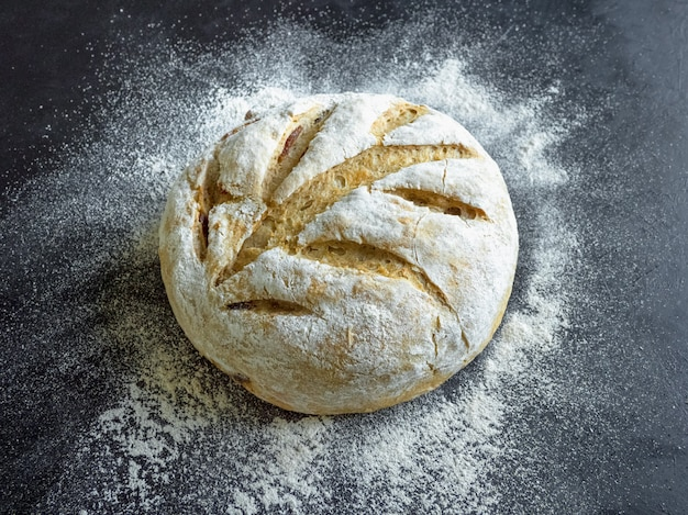 No knead baked date bread on a black surface