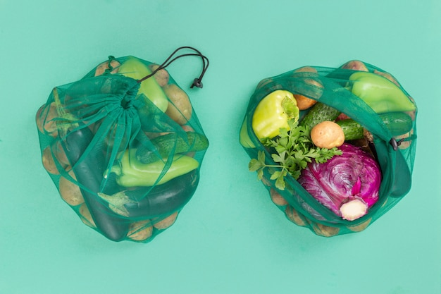 No plastic bag concept. mesh bags for vegetables of healthy food, . top view. flat lay