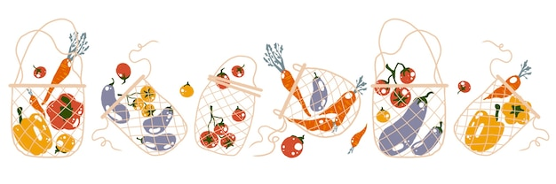 No plastic concept set with flat cartoon style illustration of mesh eco bags and vegetables