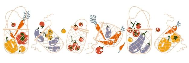 Никакой пластиковой концепции с плоской иллюстрацией в мультяшном стиле сетчатых эко-сумок и овощей
