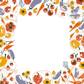 No plastic concept square frame with flat cartoon style illustration of mesh eco bags   vegetables